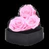 Boîte cœur avec 3 roses éternelles rose - Autour d'Elle