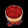 Boîte ronde avec 11 roses éternelles rouge - Autour d'Elle