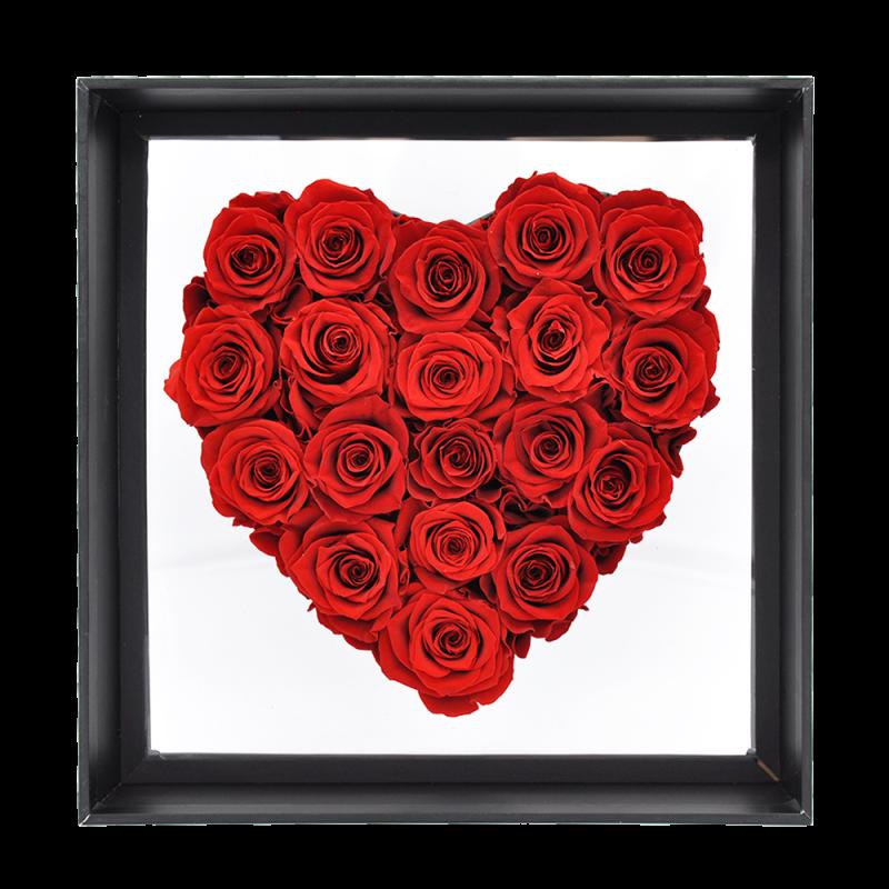 Boîte cœur avec 19 roses éternelles rouge - Autour d'Elle