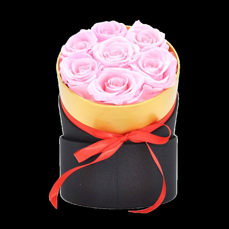 Boîte ronde avec 7 roses éternelles rose